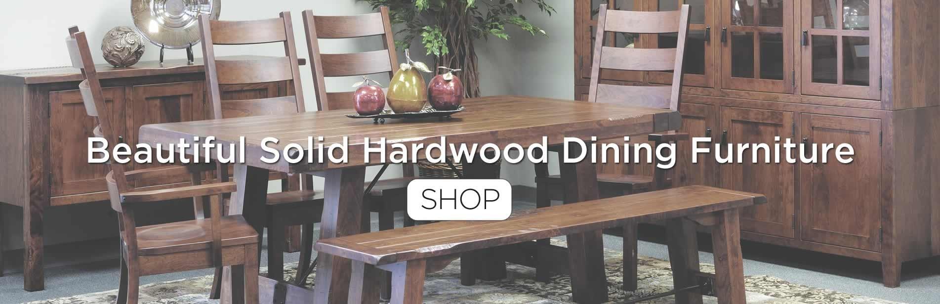 Custom crafted solid hardwood dining furniture